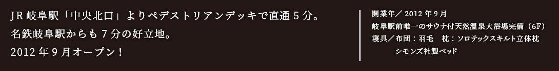 JR岐阜駅「中央北口」よりペデストリアンデッキで直通5分。名鉄岐阜駅からも7分の好立地。2012年9月オープン!