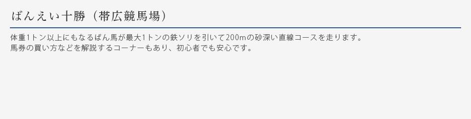 ばんえい十勝(帯広競馬場)